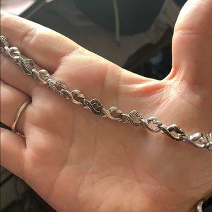 Black and white diamond open heart tennis bracelet